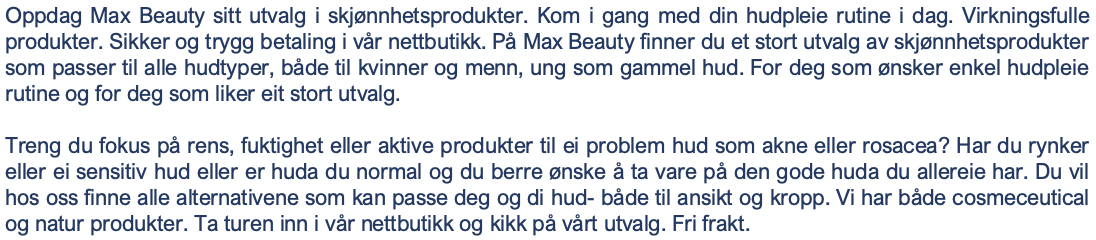 TOPPTEKST FOR MAX BEAUTY INFO